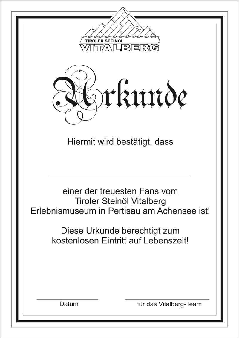 Urkunde Vitalberg Erlebnismuseum