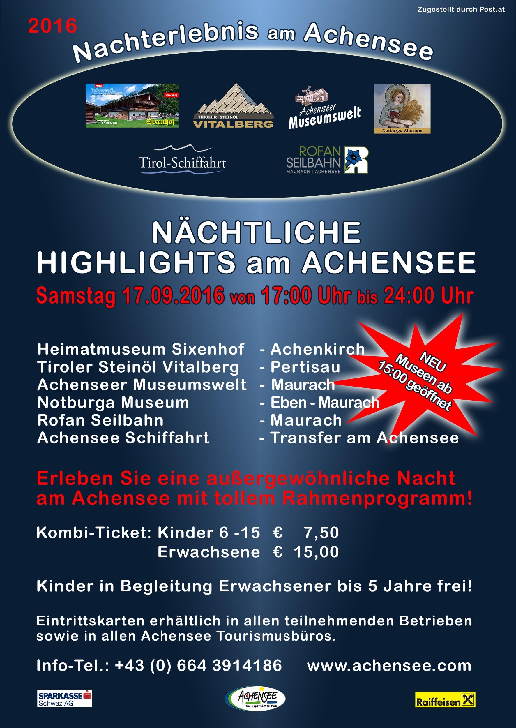 Nachterlebnis am Achensee A5 Flyer vorne 2016