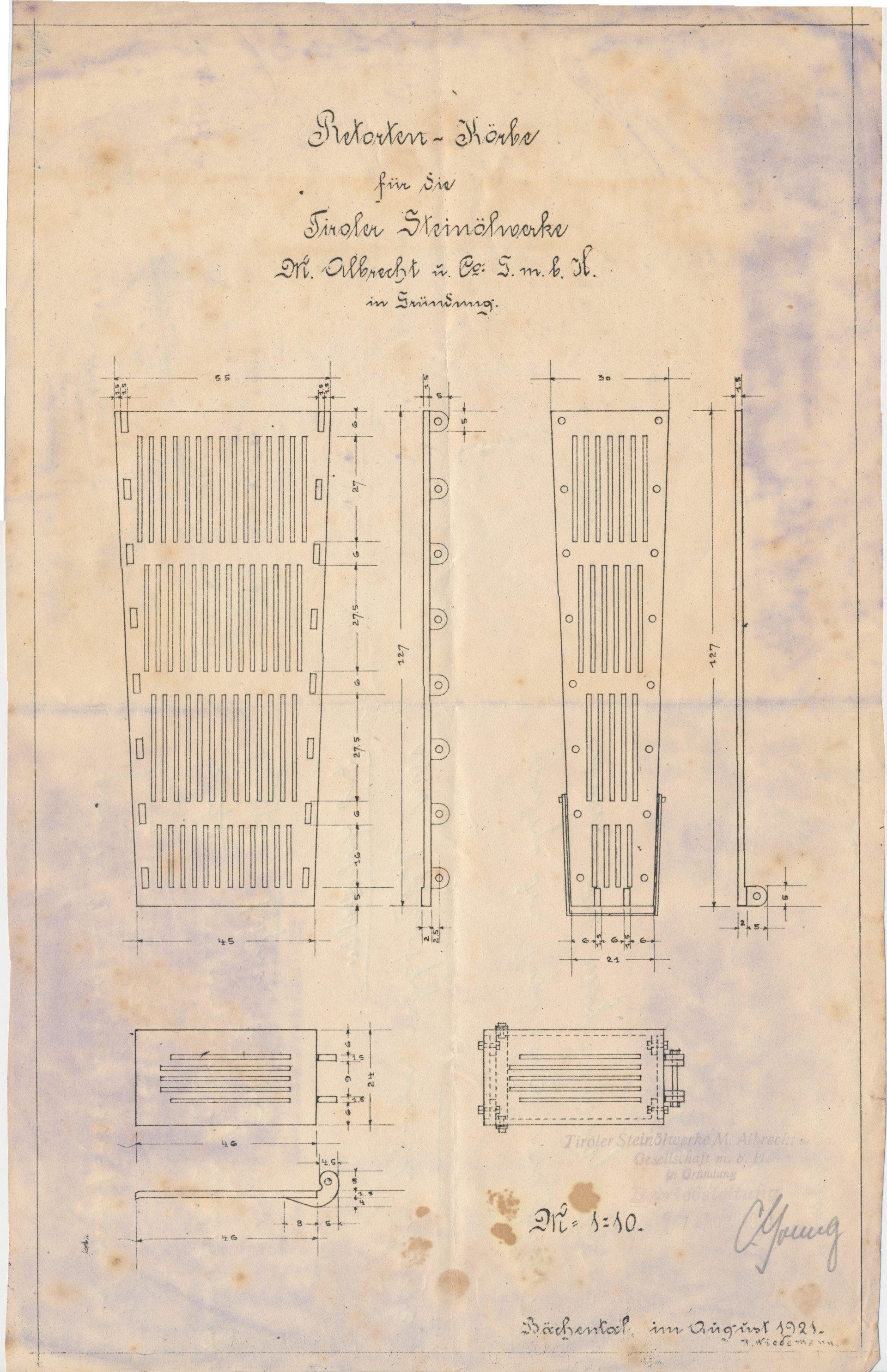 Plan Retortenkörbe 1921